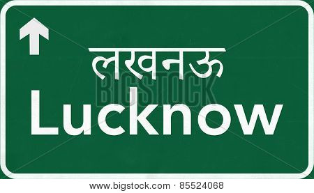 Lucknow India Highway Road Sign