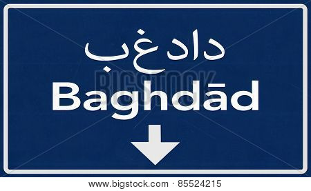 Baghdad Highway Road Sign