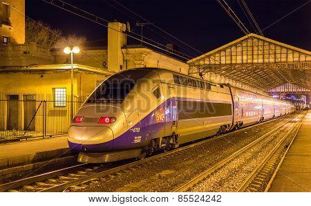 Beziers, France - January 05: Sncf Tgv Duplex Train On Beziers Station On January 5, 2014. Tgv Train