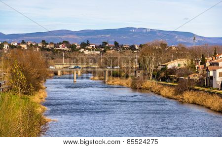 The Aude River In Carcassonne - France