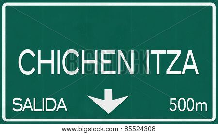 Chichen Itza Mexico Highway Road Sign