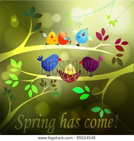 Spring has come! Bird family Vector illustration