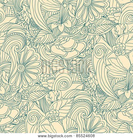 Doodle floral seamless pattern