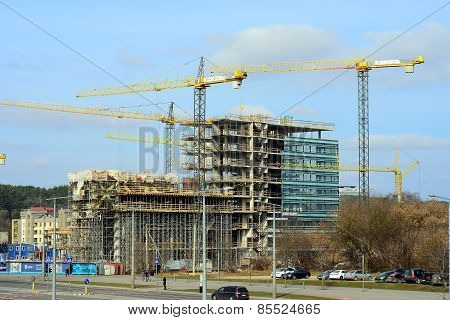 Construction Of New Houses In Lithuania Vilnius City Center