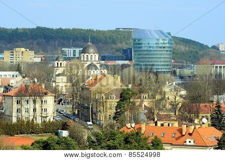 Vilnius City Zverynas District Aerial Spring View