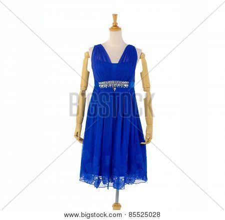 blue female sundress clothing on mannequin