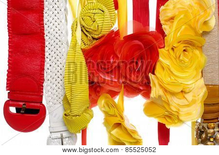 Set of woman many belts and flower made of silk and satin dangle