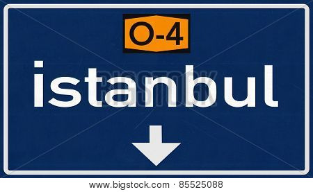 Istanbul Turkey Highway Road Sign