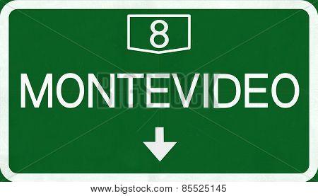 Montevideo Uruguay Highway Road Sign