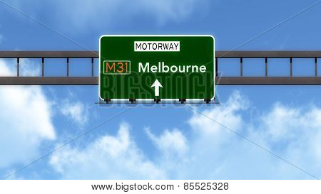 Melbourne Australia Highway Road Sign
