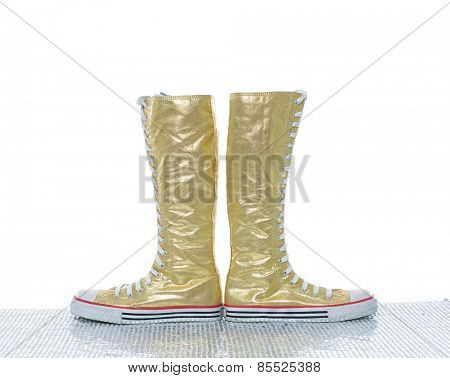 female high boots on the white background