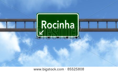 Favela Rocinha Brazil Highway Road Sign