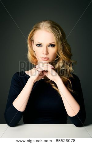 Close-up portrait of a beautiful blonde woman looking at camera. Beauty, fashion. Body care. Skin care.