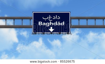 Baghdad Iraq Highway Road Sign