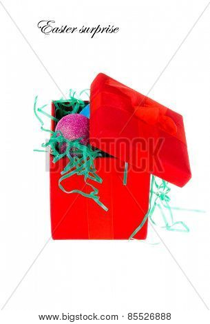 Easter eggs in a colorful Red box nest, isolated on white, with room for text
