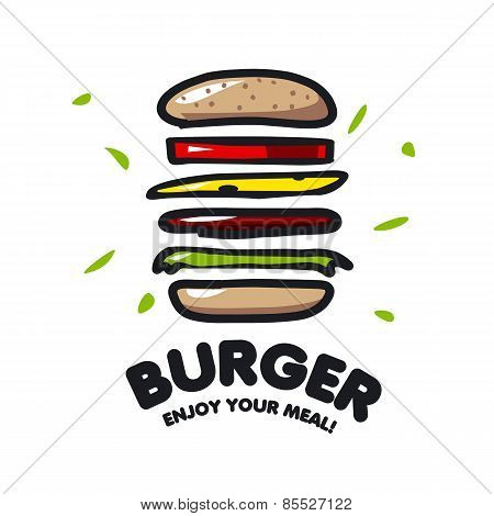 Vector Icon Burger For Fast Food