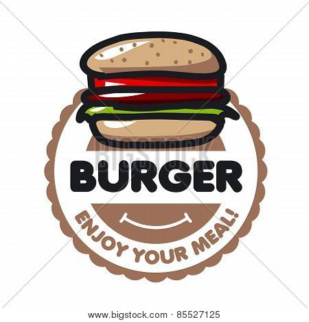 Vector Icon Burger For Menu Restaurant Or Cafe