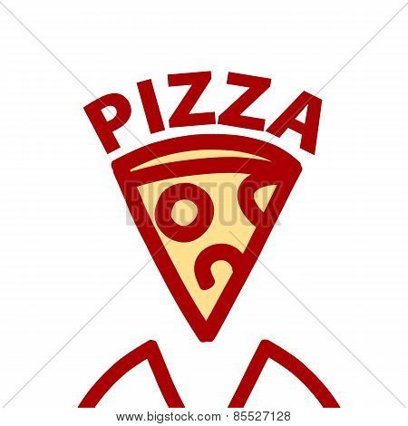 Vector Icon Contour Slice Of Pizza