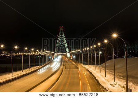 Third Bugrinskij Bridge Over The Ob River At Night. This Bridge With Arched Spans One Of The Largest