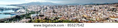 Panoramic View Of Malaga City. Andalusia. Spain
