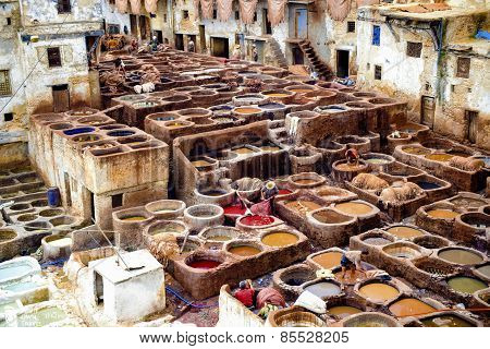 Morocco - March 6, 2014 High View Of The Internal Courtyard Of A Leather Factory In Fez, Morocco. Wo
