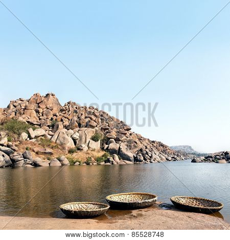 Landscape of Hampi rocks and Tungabhadra River