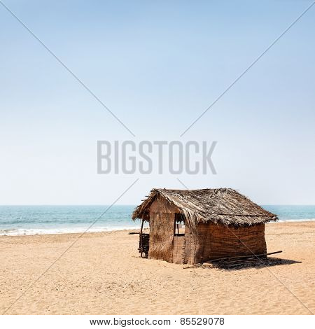 A beach hut on a india seacost
