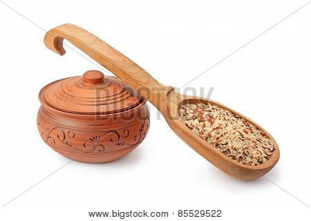 Clay Pots, Wooden Spoon And Rice