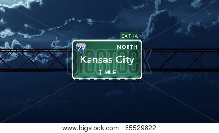 Kansas City USA Interstate Highway Road Sign