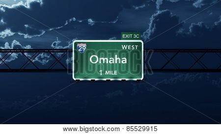 Omaha USA Interstate Highway Road Sign