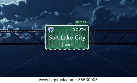 Salt Lake City USA Interstate Highway Road Sign