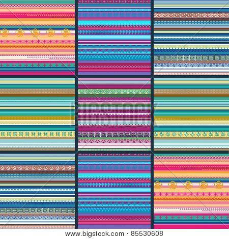 Set of seamless geometric striped patterns