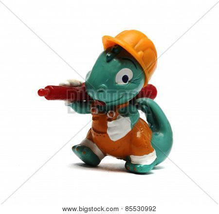 Dirty Old Dinosaur Figurine On A White Background