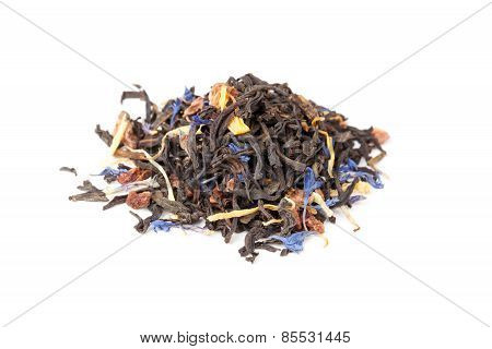 Black Tea Mixed With Herbs And Dry Fruits, Isolated On White
