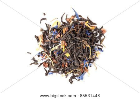 Black Tea Mixed With Herbs And Fruits, Isolated. Top View