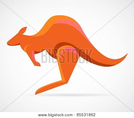 kangaroo - vector illustration and icon