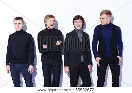 Happy men laughing
