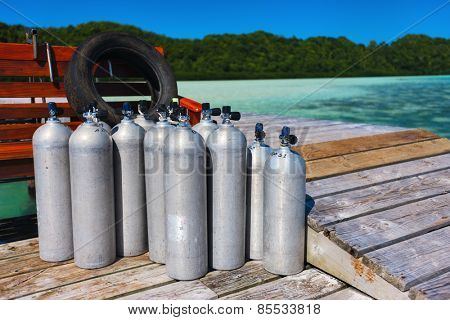 Compressed air tanks prepared for diving trip