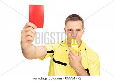 Referee showing red card and blowing huge whistle isolated on white background