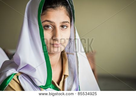 young indian girl in class room