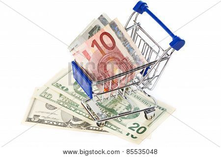 Shopping Trolley With Money Isolated