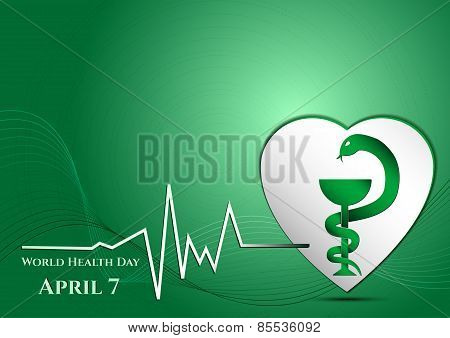 Abstract Green Background With Medical Symbols. World Health Day. Vessel Of Gigia On Heart