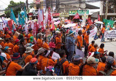 Protesters Gathered Fta Negotiations Between Thailand And The Eu.