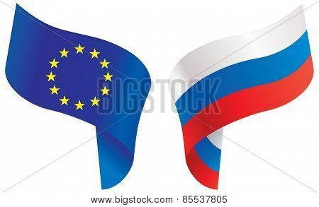 Flags Of Europe And Russia. Vector Illustration
