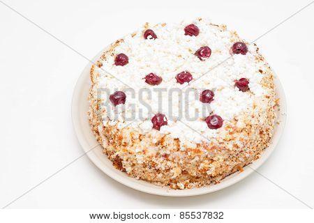 Curd Handmade Cake With Fresh Cherries