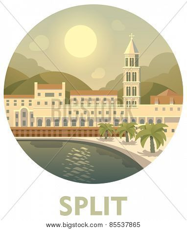 Vector icon representing Split as a travel destination