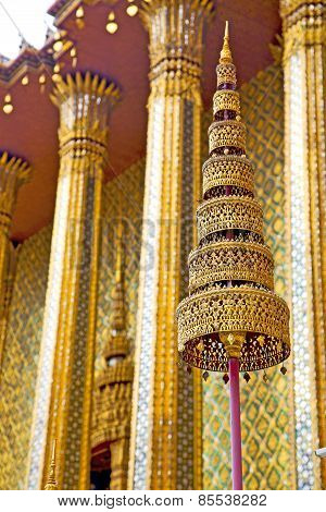 Pavement Gold    Temple   In   Bangkok  Sun Light
