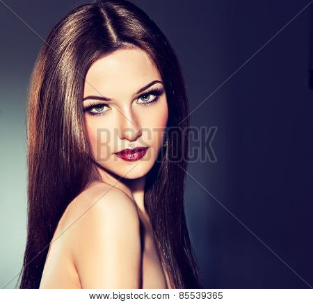 Beautiful model brunette with long  hair