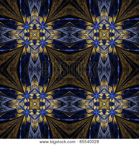 Symmetrical Flower Pattern In Stained-glass Window Style On Black. Beige And Blue Palette. Computer