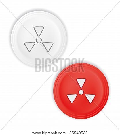 Buttons With Radioactive Symbol